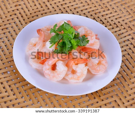Cooked shrimps plate. - stock photo