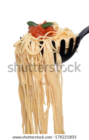 cooked spaghetti noodles with sauce in spoon isolated white background - stock photo