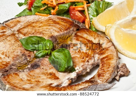cooked swordfish served with salad and lemon - stock photo