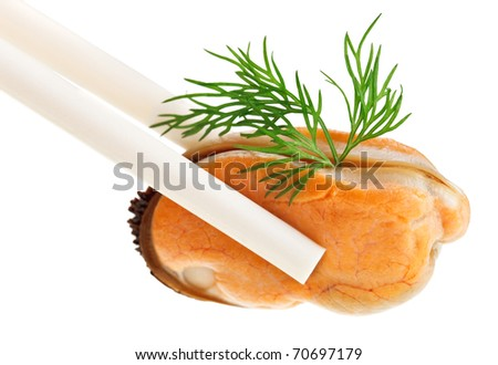 Cooked unshelled sea mussel with dill twig in chopsticks, isolated on white - stock photo