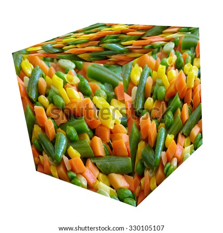 Cooked vegetables mix cube. Peas and green beans. Healthy diet. - stock photo