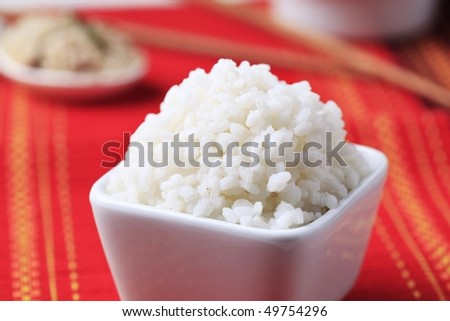 Cooked white rice - stock photo