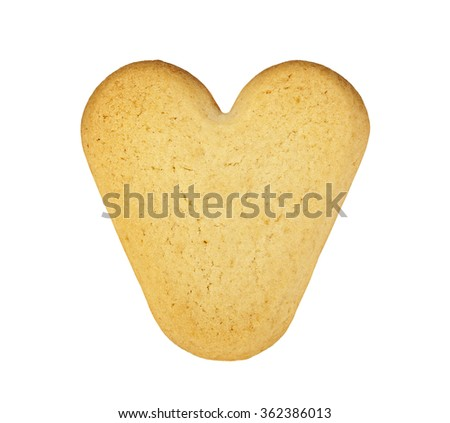 Cookie in the shape of a heart on a white background - stock photo