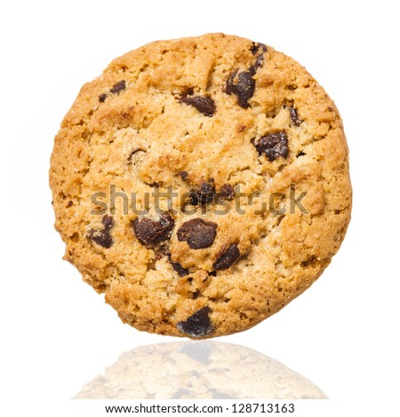 Cookie with chocolate drops isolated on white background - stock photo