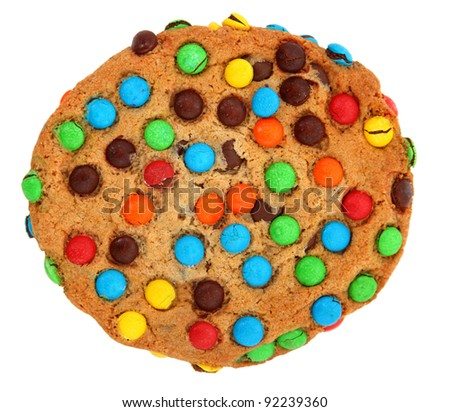 Cookie With Colorful Candy Pieces Isolated On White Background - stock photo