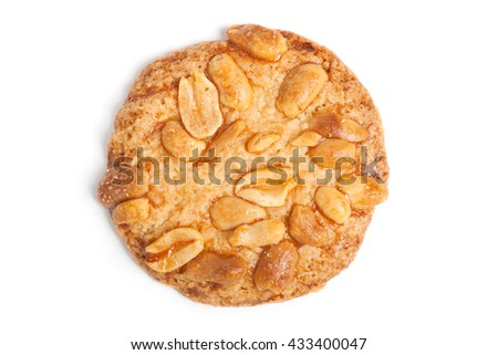 Cookie with nuts isolated on white background - stock photo