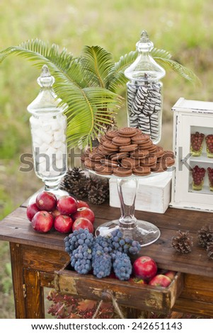 cookies and biscuit candy for a wedding - stock photo