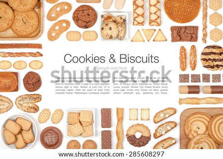 cookies and biscuits on white background  - stock photo