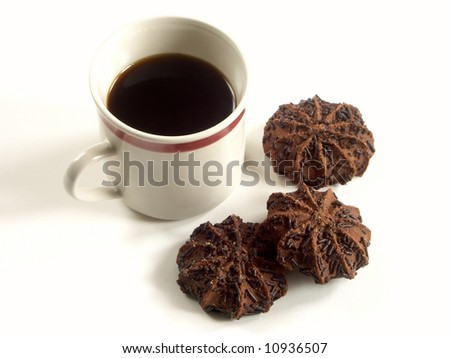 cookies and cap of coffee - stock photo