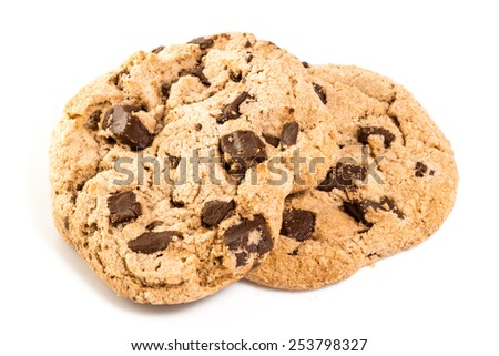 Cookies and chocolate chips isolated on white - stock photo