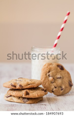 Cookies and Milk for dessert - stock photo