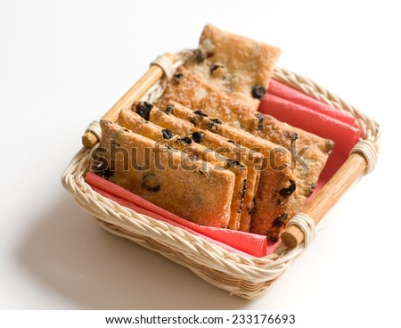 Cookies assortment on the hand made dish - stock photo