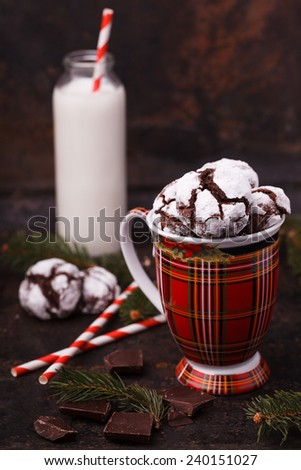 """Cookies """"Chocolate crinkles"""" on a festive background. - stock photo"""
