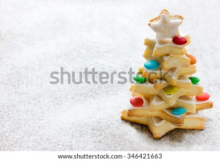 Cookies Christmas tree on a white background, place for text - stock photo