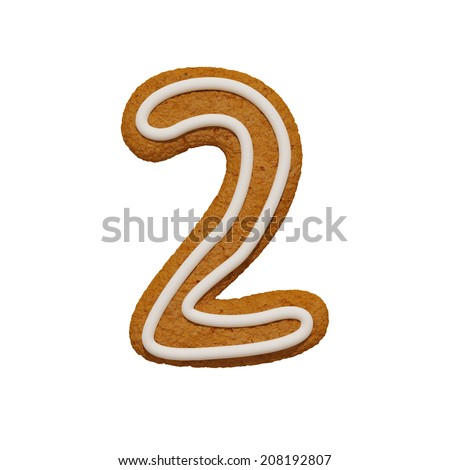 Cookies font number 2. Gingerbread cookie alphabet isolated on white background. - stock photo