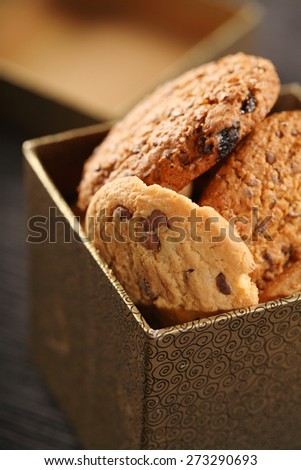 Cookies in box - close-up - stock photo