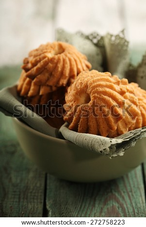 Cookies in green bowl - close -up - stock photo