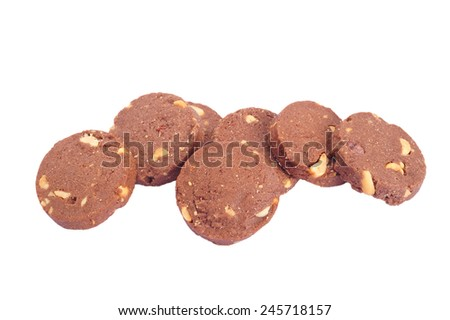 cookies in stack isolated on white background - stock photo