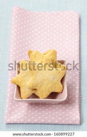 Cookies in star shape. Copy space - stock photo