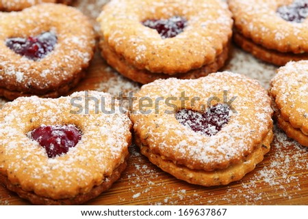 Cookies in the form of a heart closeup. - stock photo