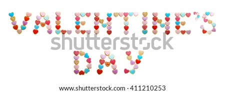 Cookies inscription Valentine's Day, isolated on white - stock photo