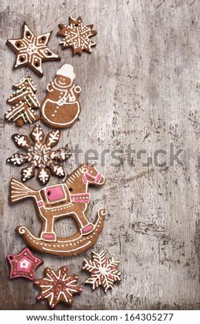cookies lies over wooden background - stock photo