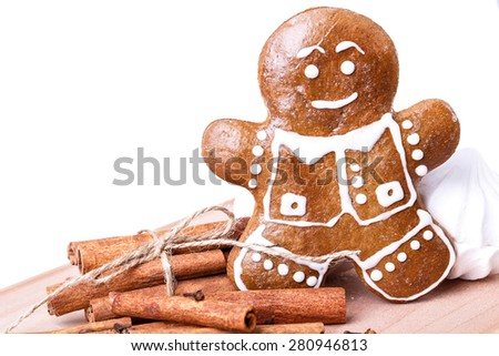 cookies man cinnamon Isolated on white background - stock photo