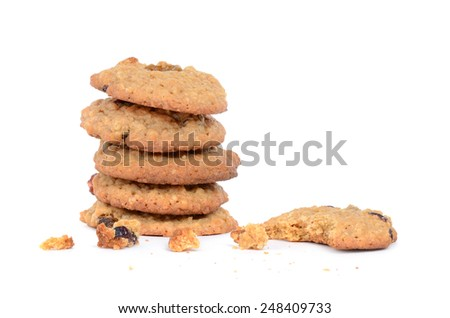 cookies oatmeal cranberry raisin isolated on white background - stock photo