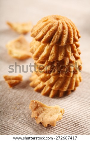 Cookies on cloth - close-up - stock photo