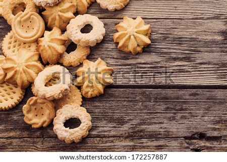 cookies on wooden background - stock photo