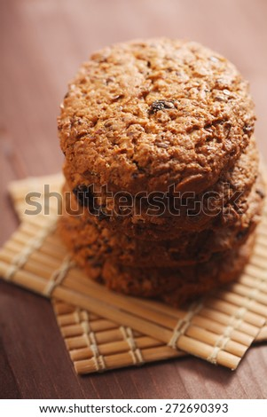 Cookies on wooden mat - stock photo