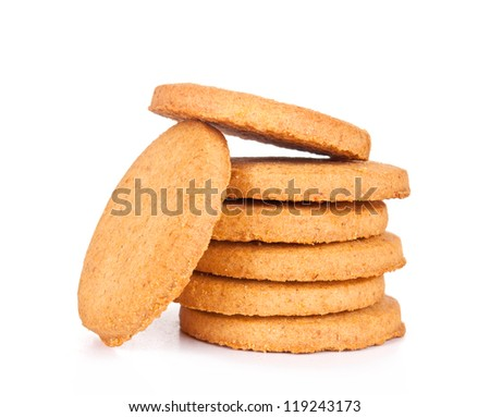 cookies,Stack of cookies. Isolated - stock photo