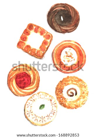 cookies watercolor illustration - stock photo