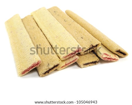 Cookies with a jamand chocolate stuffing on a white background - stock photo