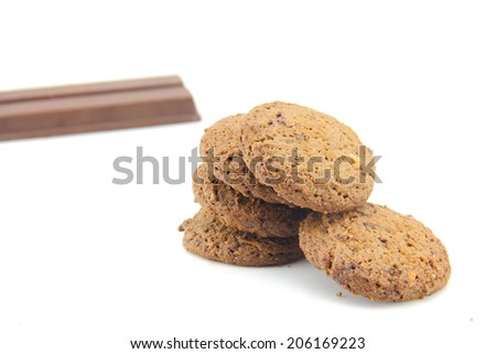 cookies with a mixture of chocolate is the homemade pastry with delicious. on white background - stock photo