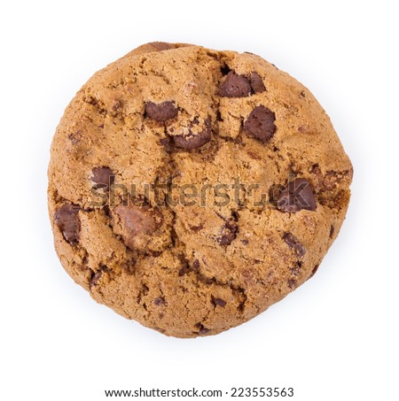 cookies with chocolate chips on top of the white isolation - stock photo