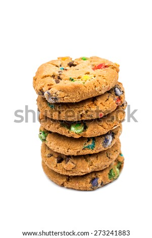 cookies with chocolate colored drops on a white background - stock photo