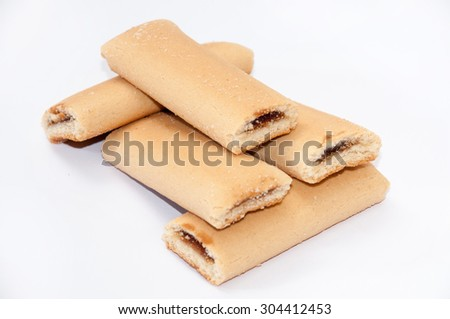 Cookies with fruit filling on the white background. - stock photo