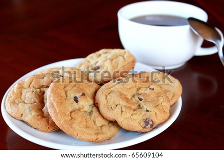Cookies with hot drink - stock photo