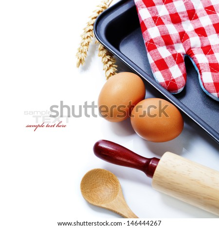 Cooking and baking concept (Ingredients and kitchen tools). With easy removable sample text - stock photo