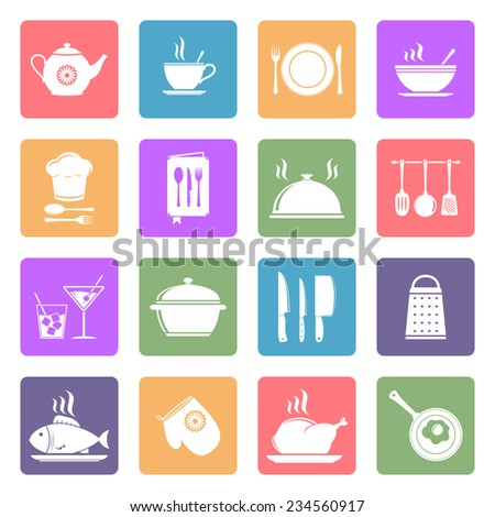Cooking and kitchen flat icons - stock photo