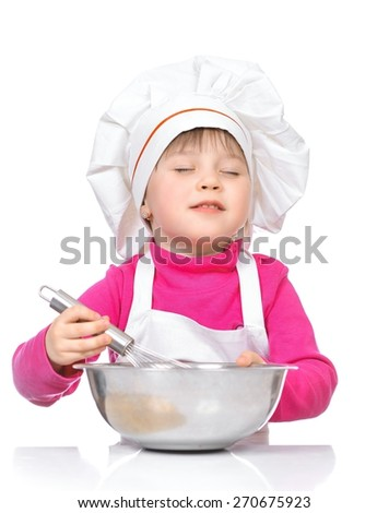 cooking and people concept - girl smiling chef with kitchen utensils, isolated on a white background. - stock photo