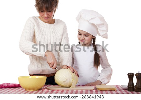 Cooking and people concept - Little girl in cook hat and mother, isolated on white background - stock photo