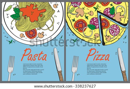 Cooking banner template with pizza and pasta.Design a menu.Menu template for restaurant and cafe.Italian cuisine hand drawn objects.Food illustration for kitchen and cafe - stock photo