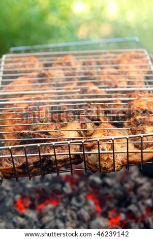 cooking barbecue on grill close-up in summer day - stock photo