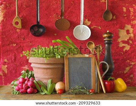 cooking concept, slate for cooking recipes, kitchen utensils, food ingredients, free copy space - stock photo