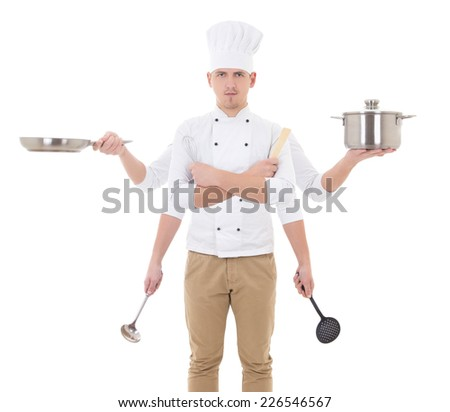cooking concept -young man in chef uniform with 6 hands holding kitchen tools isolated on white background - stock photo