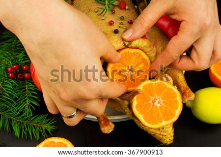 Cooking festive duck with apples and mandarins - stock photo