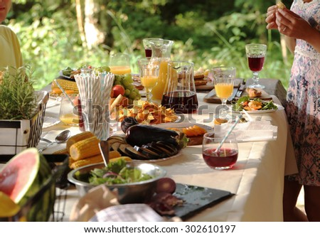 Cooking frame, food. Table full of food - stock photo