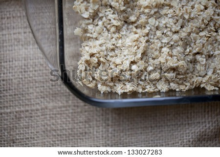 Cooking healthy dessert  - granola bars in the making - stock photo